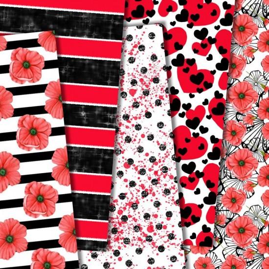 Дизайнерски картони - Black § Red poppy