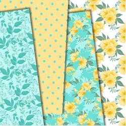 Дизайнерски картони - Yellow and mint - 8х8 инча