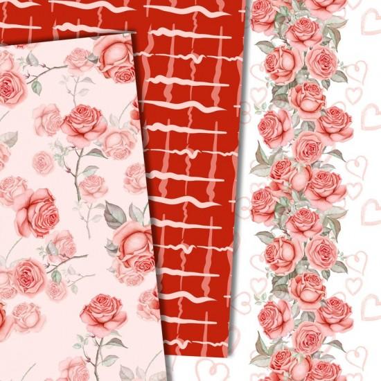Дизайнерски картони - Roses in red - 8х8  инча
