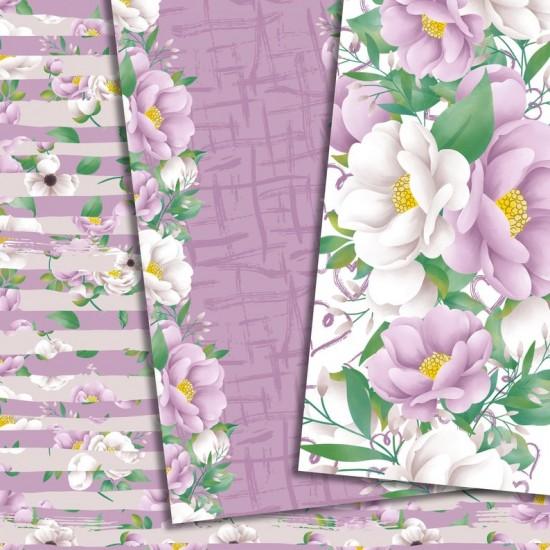 Дизайнерски картони - Flowers in purple - 8х8  инча