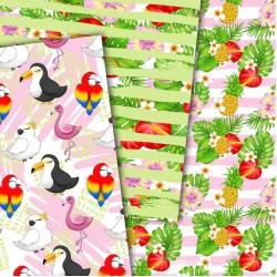 Дизайнерски картони - Tropical Birds - 8х8  инча