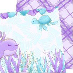 Дизайнерски картони - Sea animals - 8х8  инча
