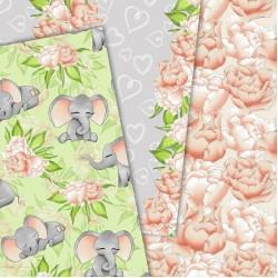 Дизайнерски картони - Baby elephant- 8х8 инча