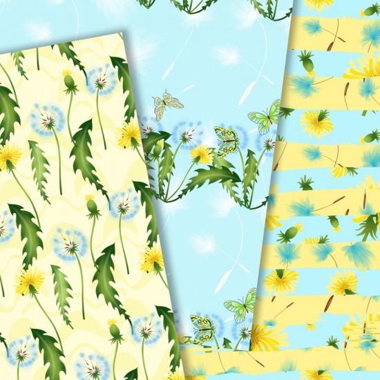 Design paper pack - Summer dandelion - 8х8 inches